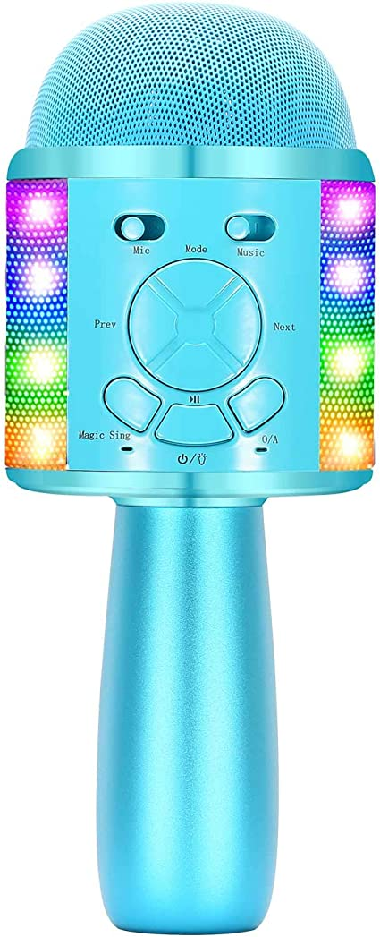 Fun for Girls and Boys Home Party Birthday Christmas Portable Wireless Bluetooth Singing Mic with Flashing Lights /& Magic Voices Pink BONAOK Karaoke Microphone for Kids