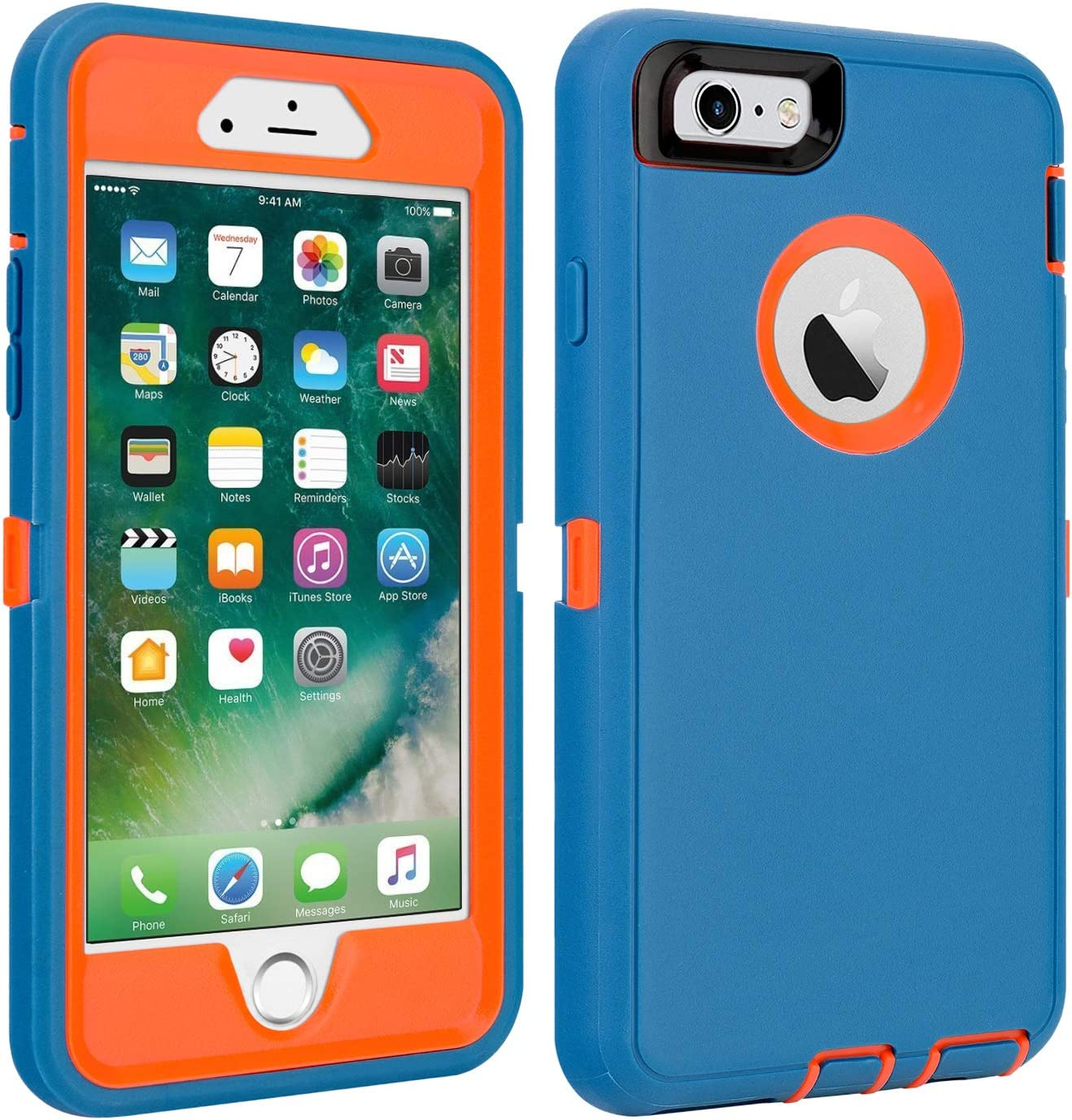 "iPhone 6/6S Case Shockproof High Impact Tough Rubber Rugged Hybrid Case Silicone Triple Protective Anti-Shock Shatter-Resistant Mobile Phone Case for iPhone 6/6S 4.7""(Blue-Orange)"