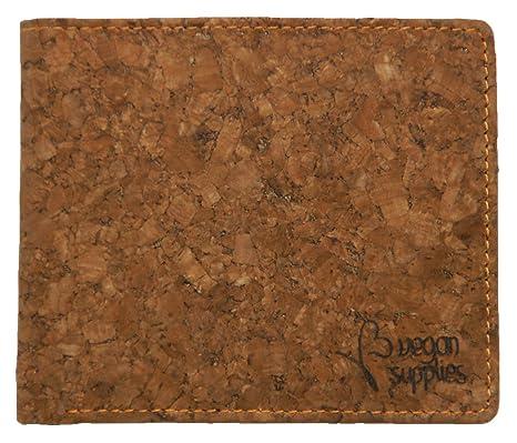Vegan Supplies - Cartera para Hombre Marrón Outside: Brown, Inside: Natural Cork Medium