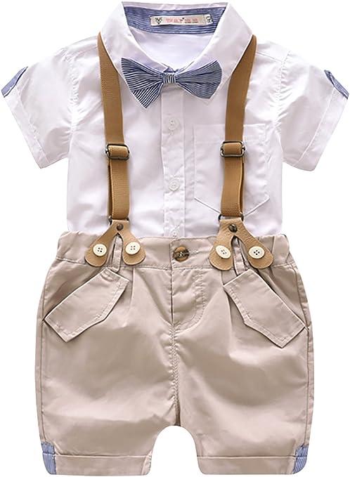 Luoting - 4pcs Conjunto de Ropa de Bautizo Camiseta Pantalones Cortos para Bebé Niño Smoking Elegante: Amazon.es: Ropa y accesorios