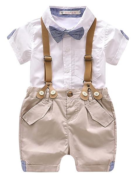 fe7eda6d1 Luoting - 4pcs Conjunto de Ropa de Bautizo Camiseta Pantalones Cortos para  Bebé Niño Smoking Elegante  Amazon.es  Ropa y accesorios