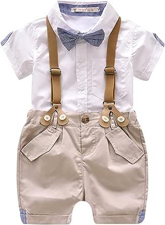 Luoting - 4pcs Conjunto de Ropa de Bautizo Camiseta Pantalones Cortos para Bebé Niño Smoking Elegante