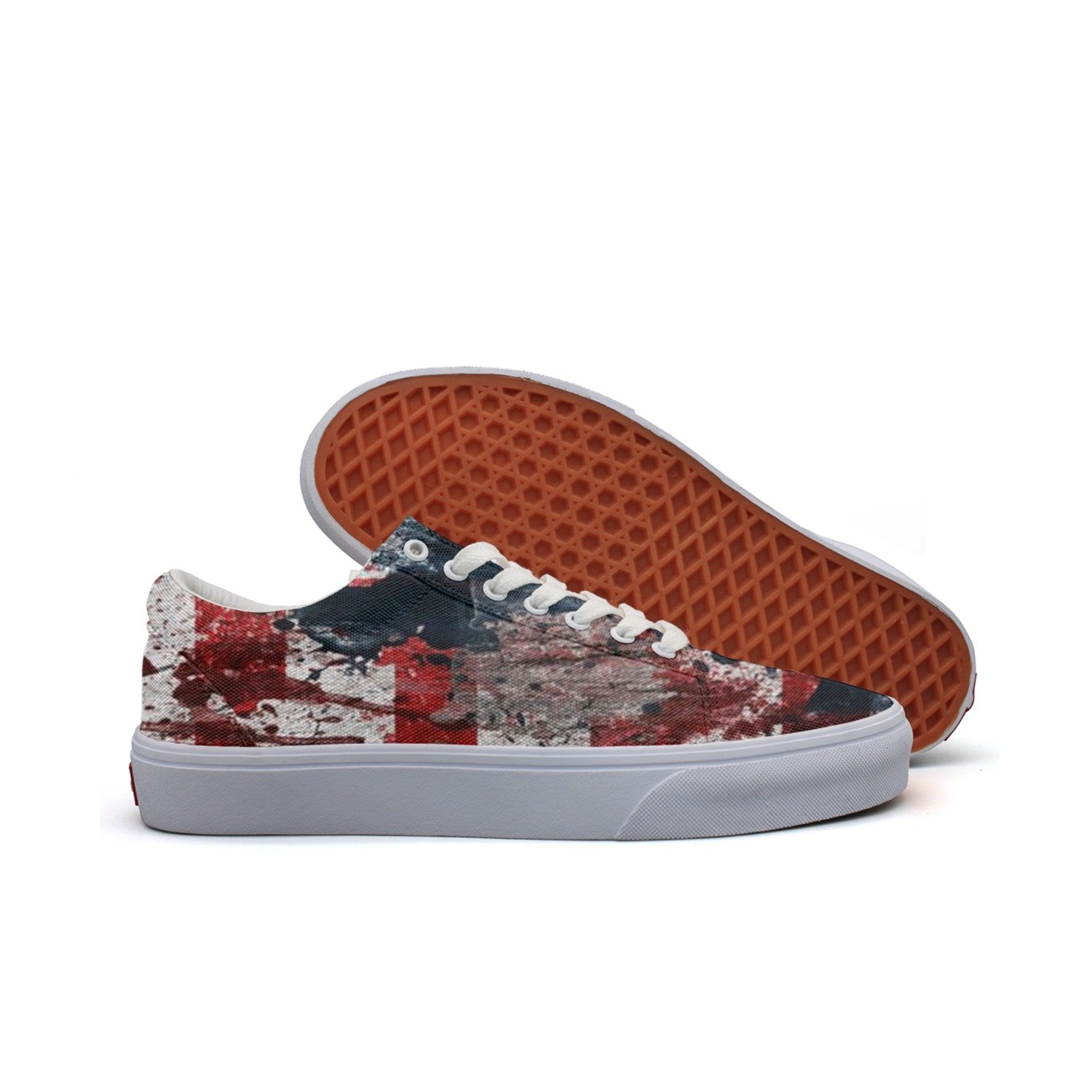 KKLDFD American Flag All National Flags Of The Nations With Names Canvas Low-top Skateboard Shoes OfMens Casual White