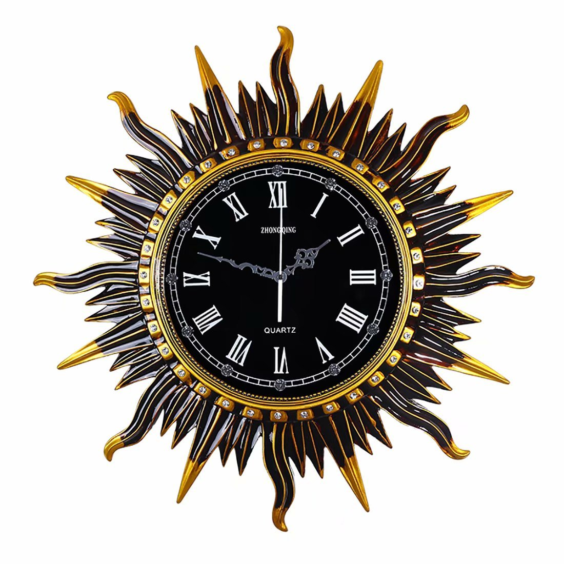 ヨーロッパの創造的な時計のリビングルームダイニングルームの壁ミュートアートクロックアメリカのレトロクォーツ時計装飾的な壁時計 B07F2B624K