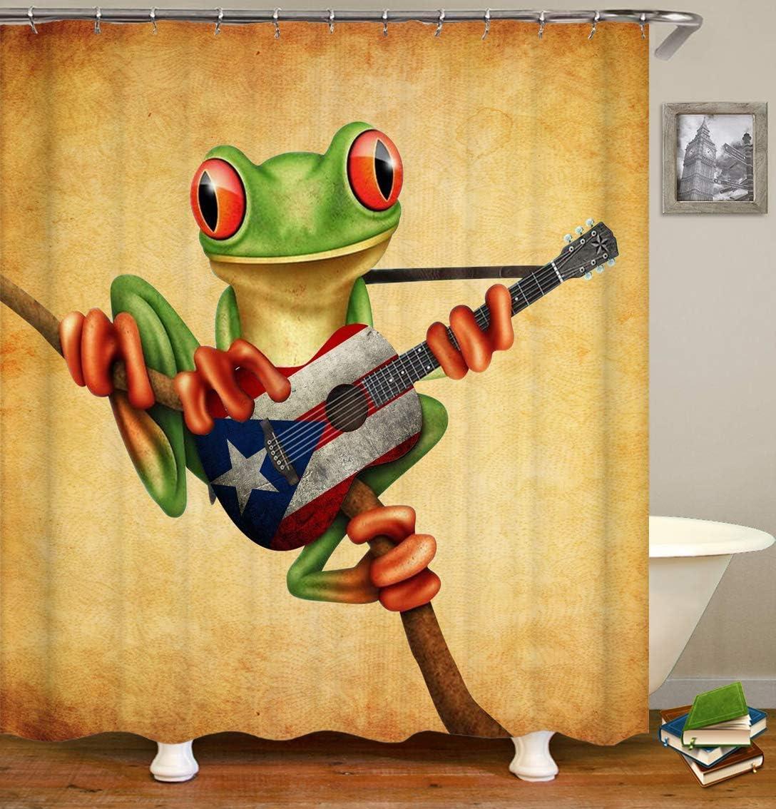 dsgrdhrty Rana Verde de Dibujos Animados y Guitarra de Rock sobre ...