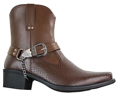 Classique Bottines Homme Cowboy Hauteur Chevilles à Enfiler Style Western  avec Boucle et Chaine Simili Cuir PU  Amazon.fr  Chaussures et Sacs 250d6d84fb0