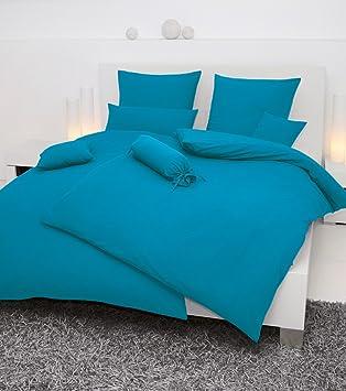 Janine Mako Soft Seersucker Bettwäsche In 19 Uni Farben 135x200 80x80 In Azur