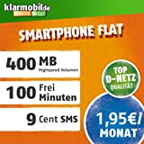 klarmobil Smartphone Flat S mit 400 MB Internet Flat max. 21 MBit/s, 100 Frei-Minuten in alle deutschen Netze, 24 Monate Laufzeit, 1,95 EUR monatlich, Triple-Sim-Karten