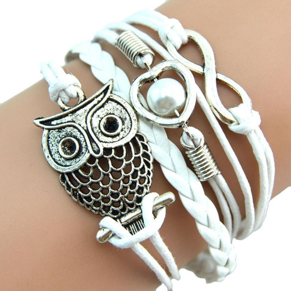 Sumen Women Girls Pearl Owl Friendship Vintage Leather Charm Bracelet Jewelry Gift Blue)