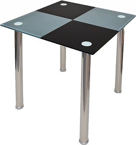 Table de cuisine table en verre noir gris Carreaux 80 x 80 cm design table verre sécurité