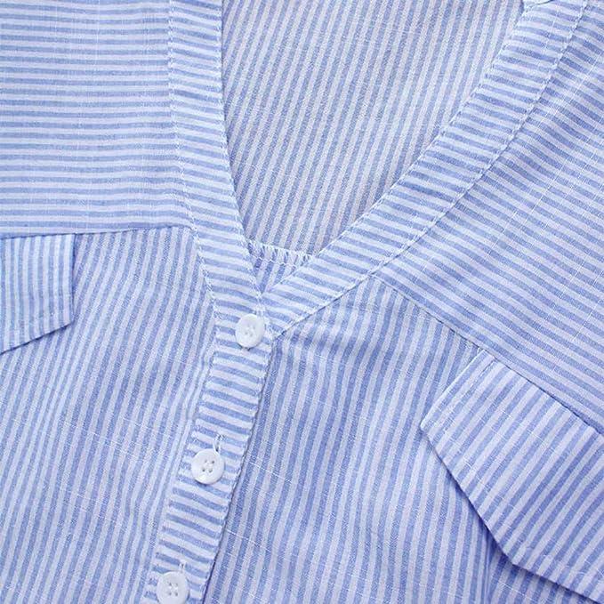 LUCKYCAT Camisa de Rayas de Moda para Mujer Blusa de Bolsillo con ...