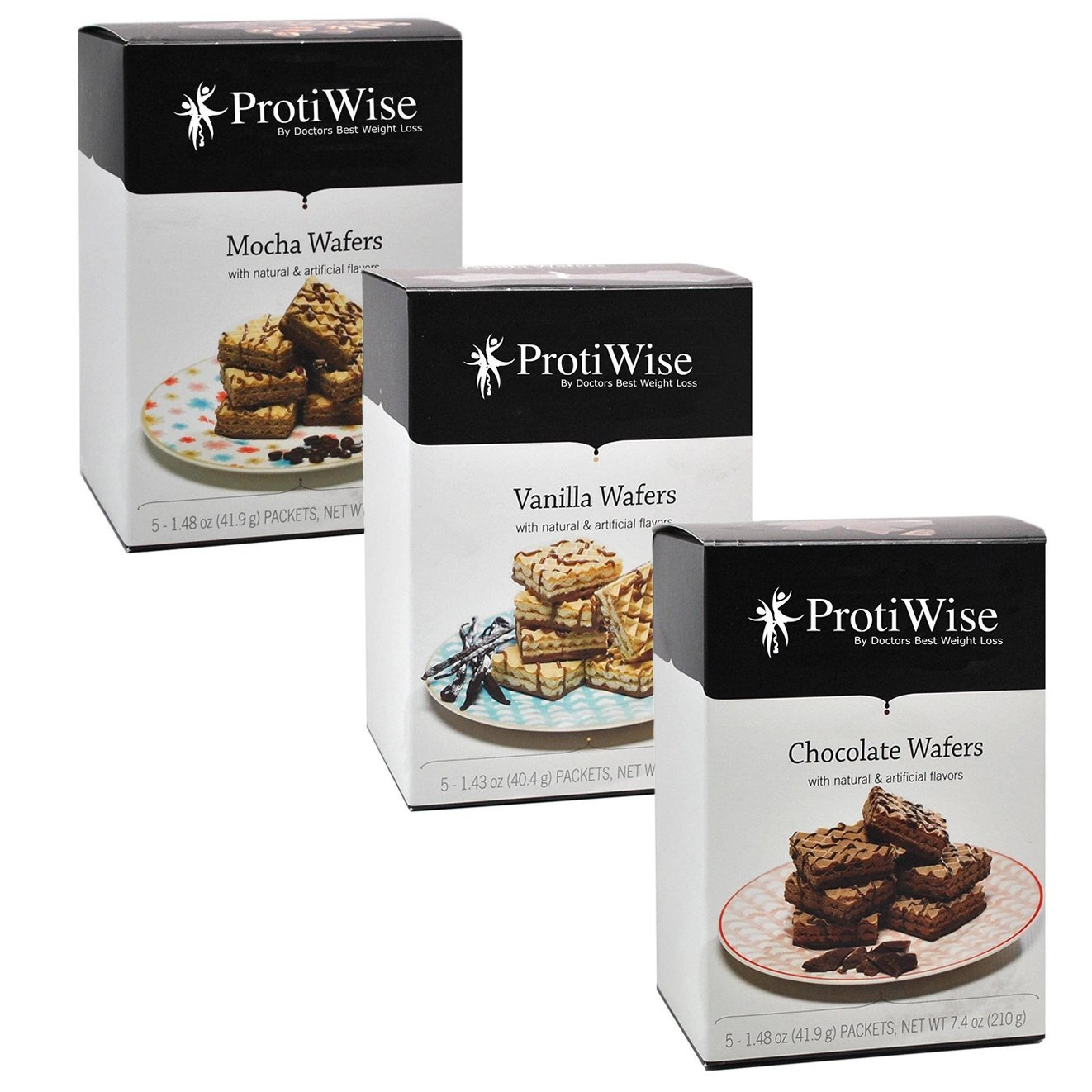 ProtiWise - Diet Protein Wafers Combo | Mocha & Vanilla & Chocolate | (15 Servings Total)