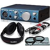 PreSonus AudioBox iOne 2x2 USB/iPad Audio Interface Recording System and Accessory Bundle w/Stereo Headphones + Cables + Fibertique Cloth