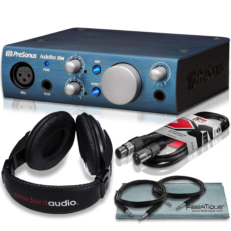 PreSonus AudioBox iOne 2x2 USB Audio Interface Recording System and Accessory Bundle w/Stereo Headphones + Cables + Fibertique Cloth