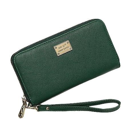 3e2069fcf6f7e Geldbörse Damen IHRKleid® Leder Elegant Süß Handtasche Portemonnaie  Geldbeutel (Grün)
