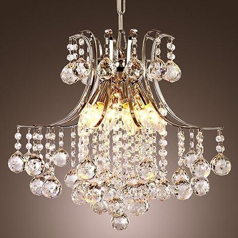 Glighone Lámpara Colgante Cristal 6*E14 40W Lámpara de Techo Luz Moderna Lámpara de Araña Iluminación Contemporáneo Elegante No Incluye Bombillas