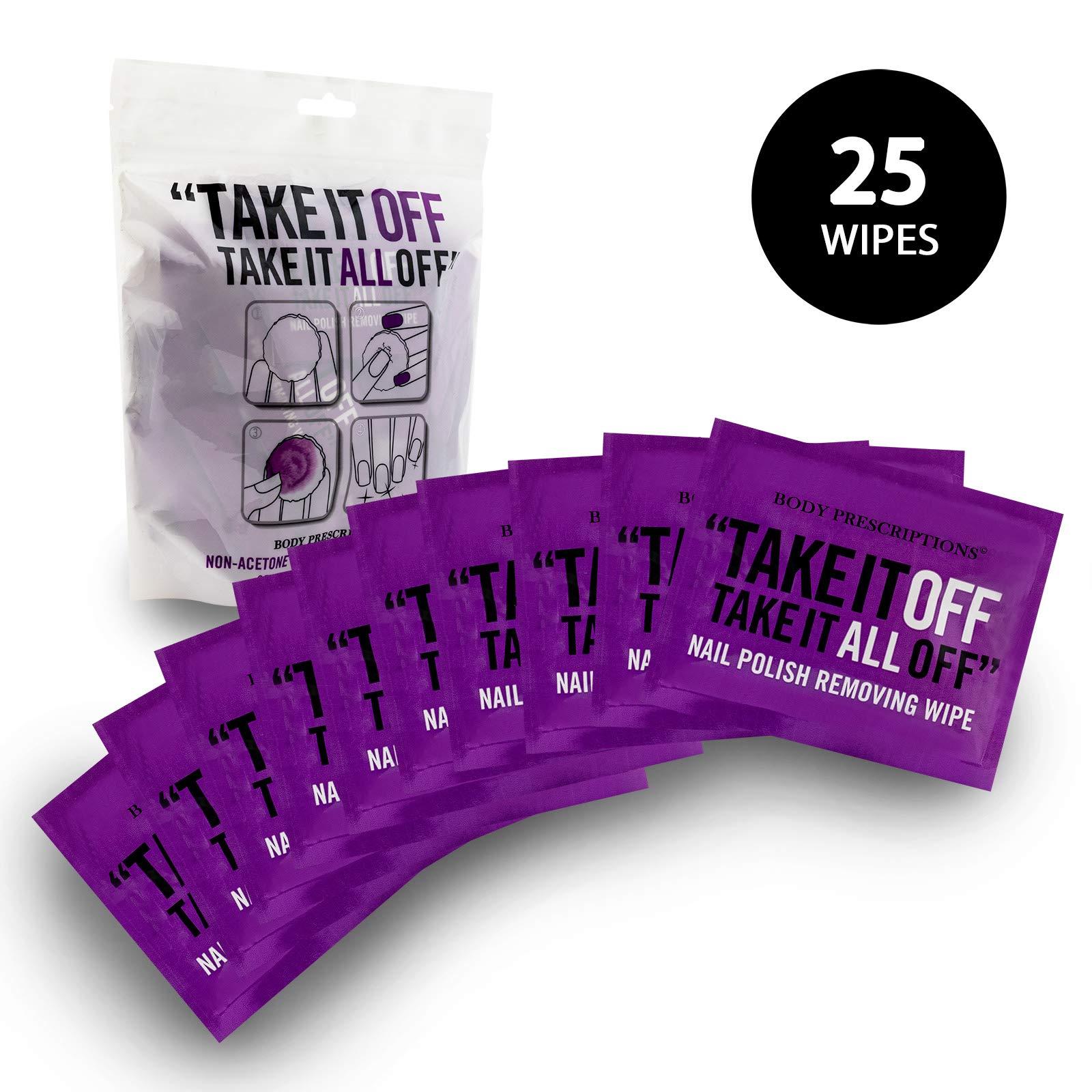 Body Prescriptions - 25 Non-Acetone Nail Polish Removing Wipes - individually wrapped by Body Prescriptions