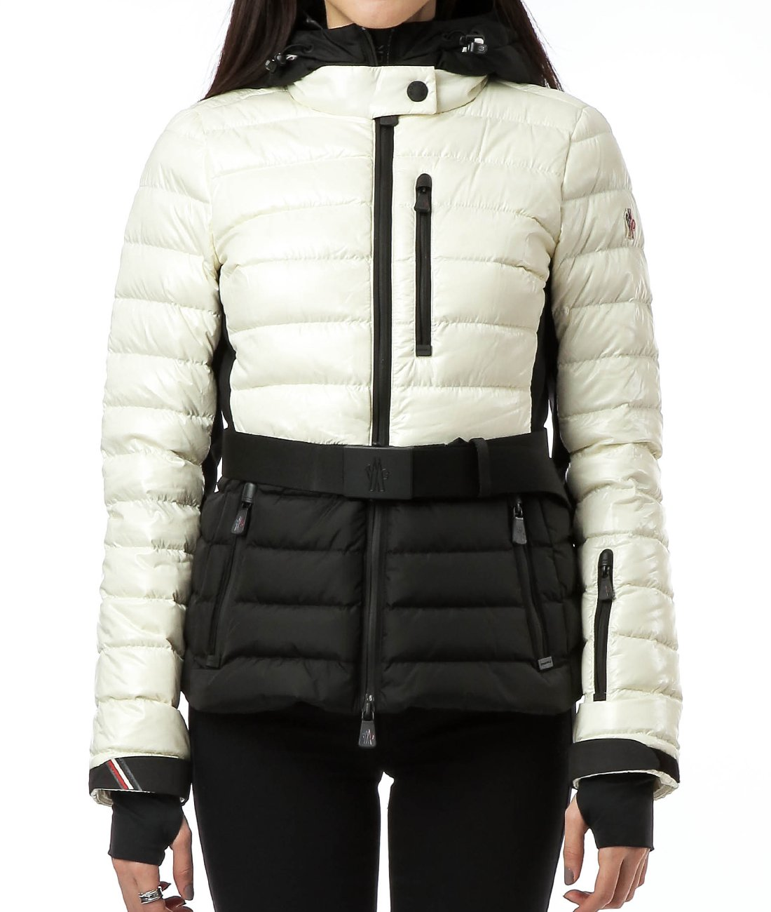 Wiberlux Moncler Bruche Women's Belt Detail Hooded Two-Tone Jacket 3 White