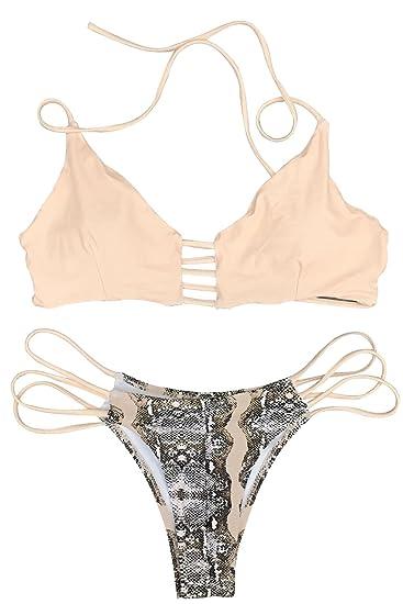 c58ff15266c Amazon.com: CUPSHE Women's Push Up Halter Bikini Set: Sports & Outdoors