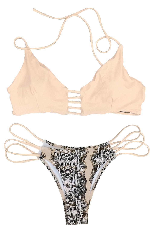 CUPSHE Women's Lace Up Stripe Strappy Bikini Set (M, Printing)