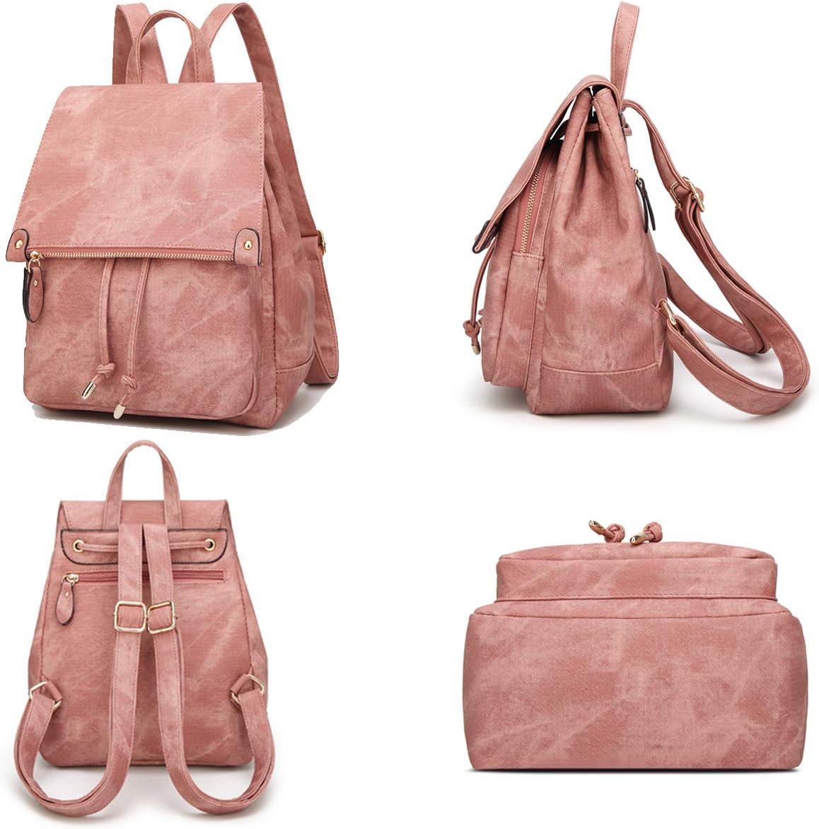 Sac /à Dos Tendance en Similicuir PU pour Femme /él/égant et d/écontract/é Rose Ladies Fashion Backpack for Pink Taille Unique