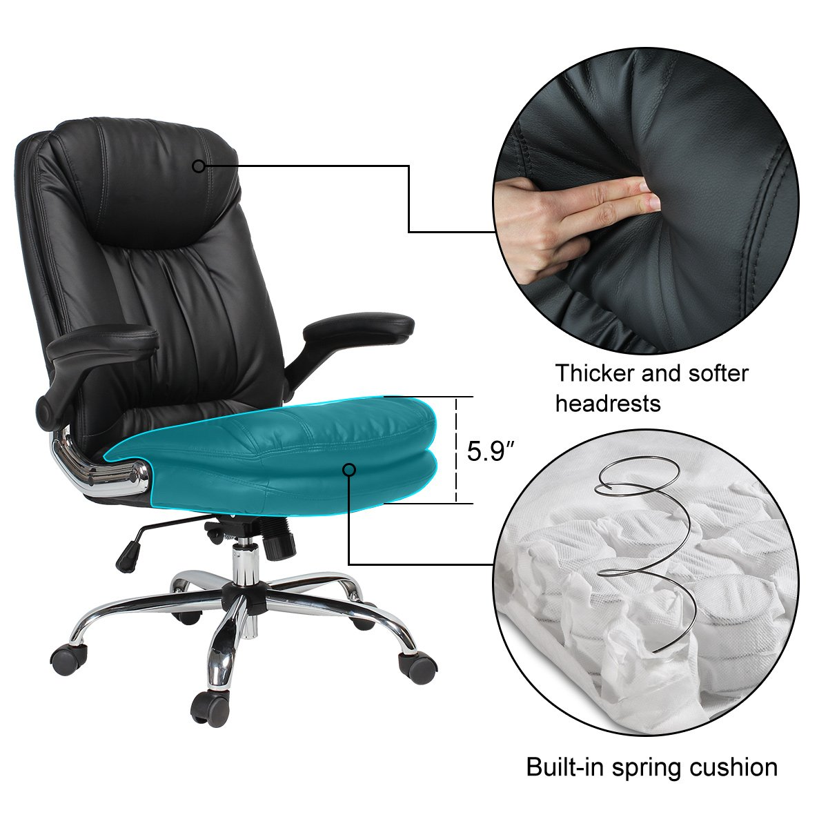 YAMASORO Ergonomic Home Office Chair with Flip-Up Arms and Comfy Headrest PU Leather High-Back Computer Desk Chair Big and Tall Capacity 330lbs Black by YAMASORO (Image #6)