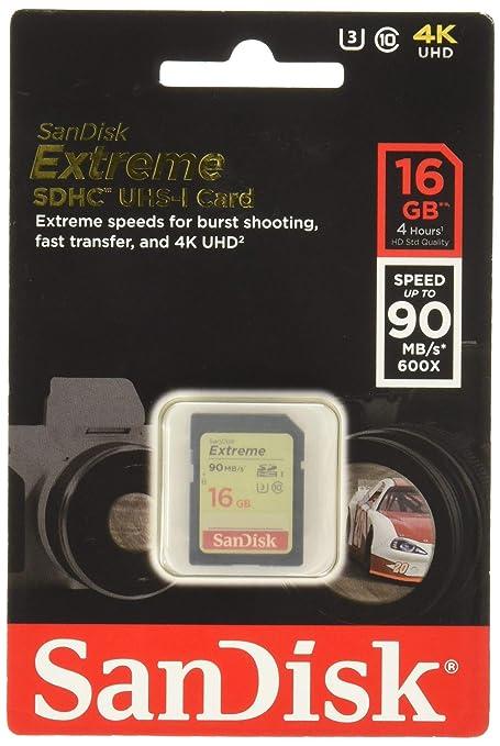 SanDisk SDSDXNE-016G-GNCIN Extreme - Tarjeta SDHC UHS-I (16 ...
