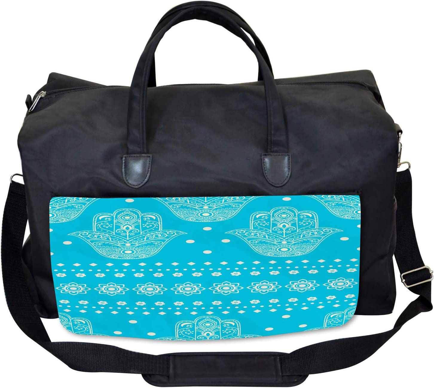 Eastern Cultural Floral Large Weekender Carry-on Ambesonne Hamsa Gym Bag