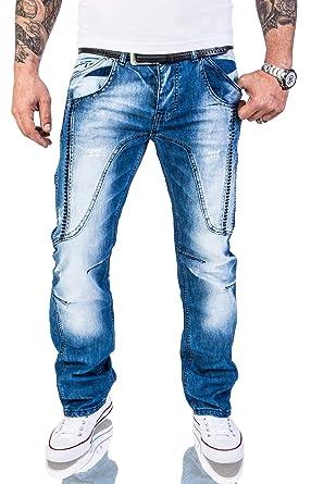 ddec2888047605 Rock Creek Herren Designer Jeans Hose Dicke Nähte Vintage Herrenjeans  Stonewashed Comfort Fit Used Look gerades