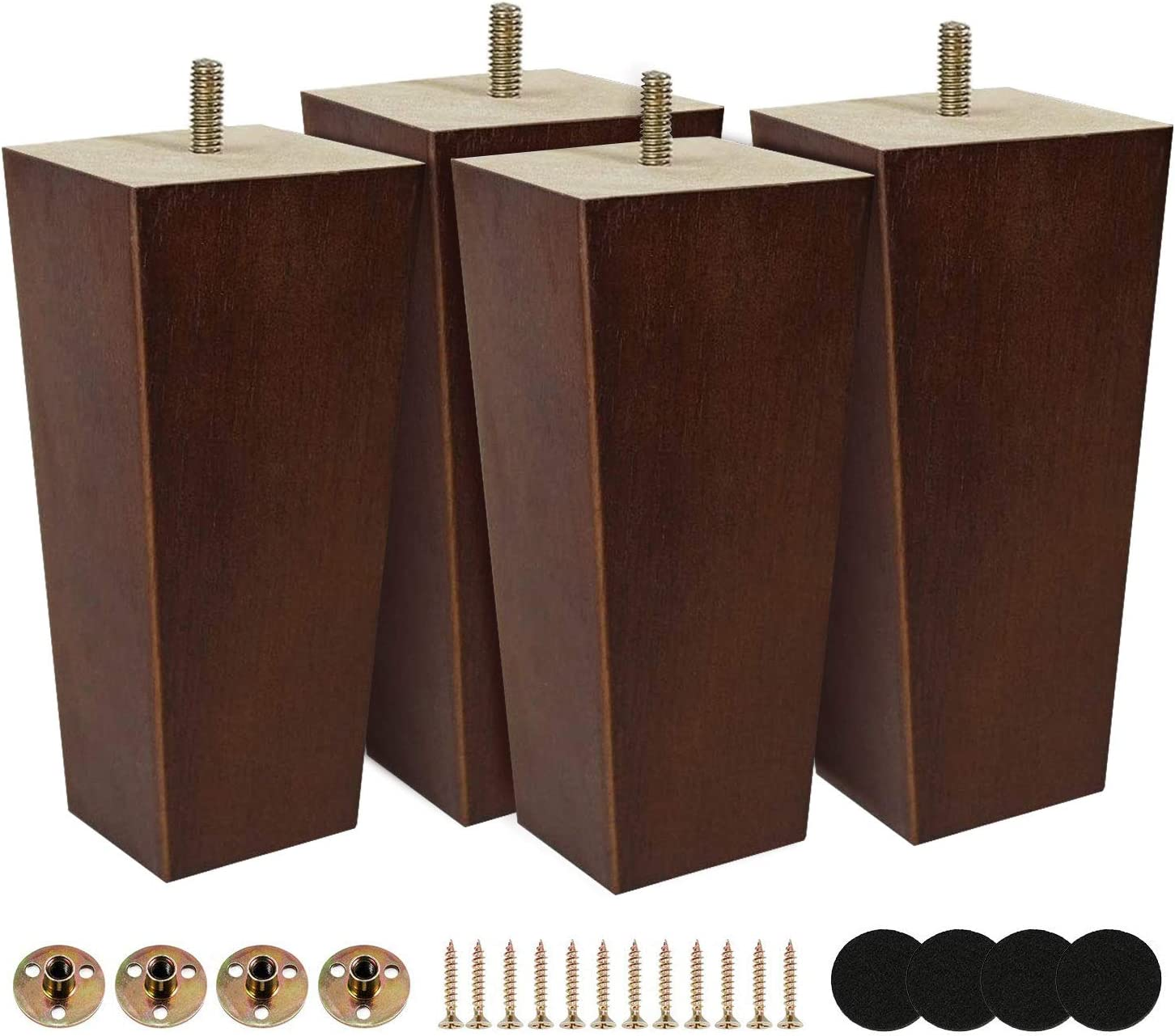 6 inch Furniture Legs Rubber Wood Made Modern Pyramid Couch Leg for Sofa Pack of 4