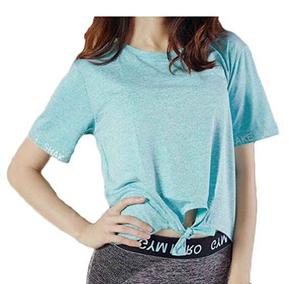 bc3dfb534b8 omniscient Womens Short Sleeve Twist Knot Loose Fitting Tops Crew Neck T  Shirt at Amazon Women s Clothing store