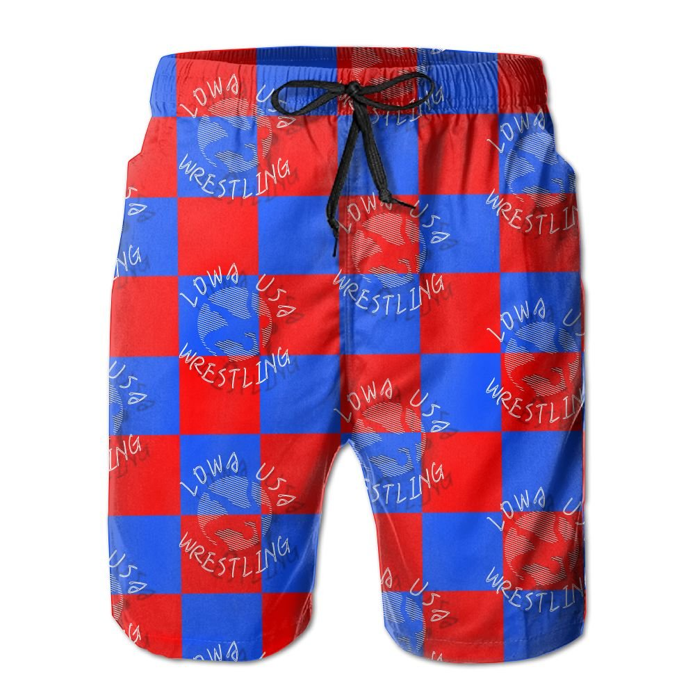 Oct USA Wrestling Logo Lined Mens Boardshorts Swim Trunks Tropical Beach Board Shorts Swimming Trunks by Oct