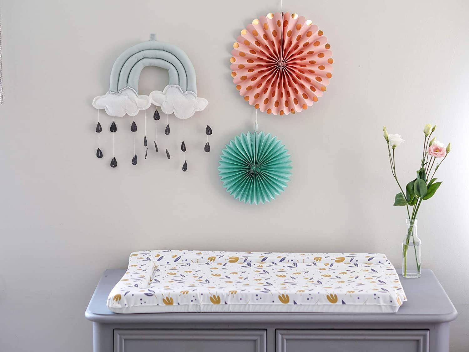 Woodland High Density Foam The Gilded Bird Baby Changing Mat 72cm x 46cm Raised Edges Change Mat Extra Padded Wipeable