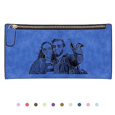 SOUFEEL Cartera Mujer Personalizada Billetera de Foto Bolsas Larga Cremallera Cuero Regalo Personalizado para San Valentin
