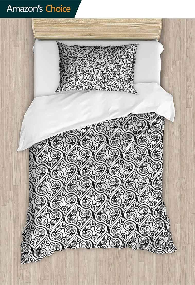 Black and White 2 Piece Quilt Coverlet Bedspread, Ornamental Abstract Outline Swirls Arabesque Nature Inspired Floral Design, All Season Lightweight Colorblock Kids Bedding Set,59 W x 78 L Inches