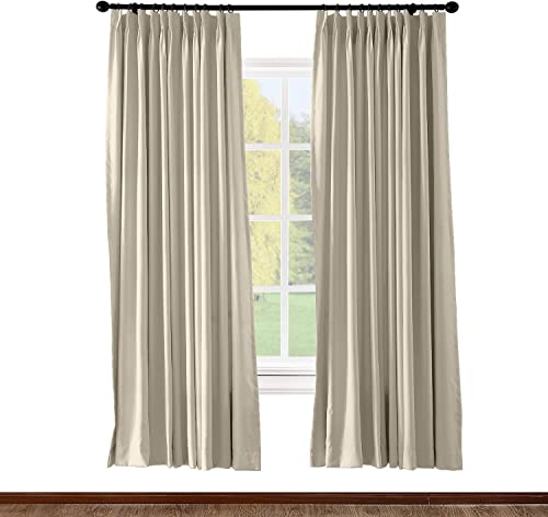 Prim Room Extra Wide Blackout Curtain Draper Darkening Thermal Insulated Pinch Pleat Large Window Curtain