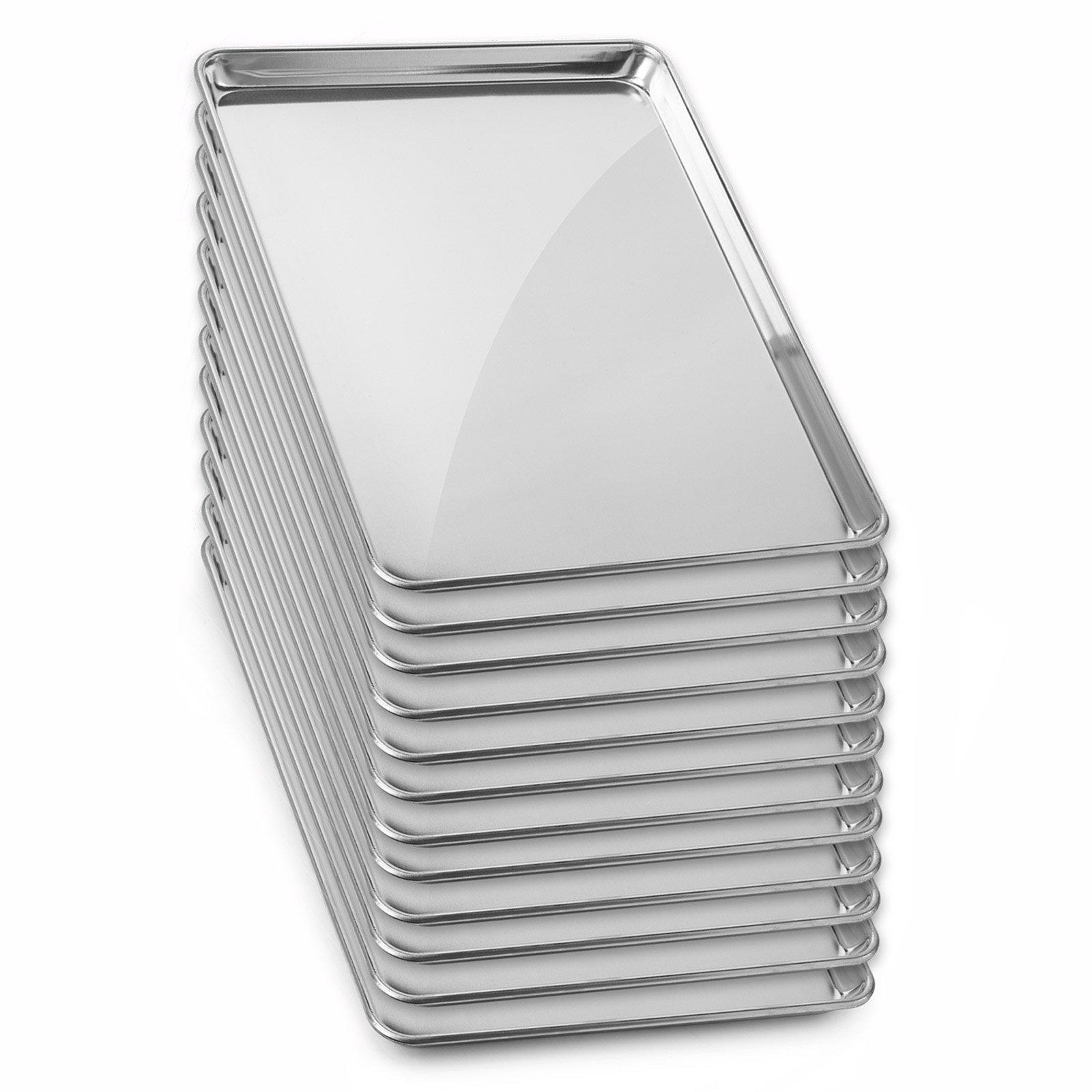 Gridmann 18 x 26 Commercial Grade Aluminium Cookie Sheet Baking Tray Pan Full Sheet - 12 Pans