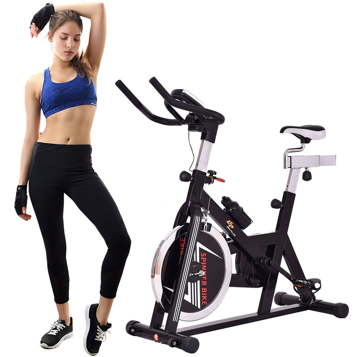 Gymax Stationary Exercise Bike w/ Adjustable Seat and Handlebars, Indoor Cycling Bike Cardio Fitness Home Gym Equipment