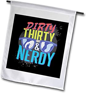 3dRose Sven Herkenrath Computer - Dirty Thirty Nerdy Computer PC Glasses - 12 x 18 inch Garden Flag (fl_306927_1)