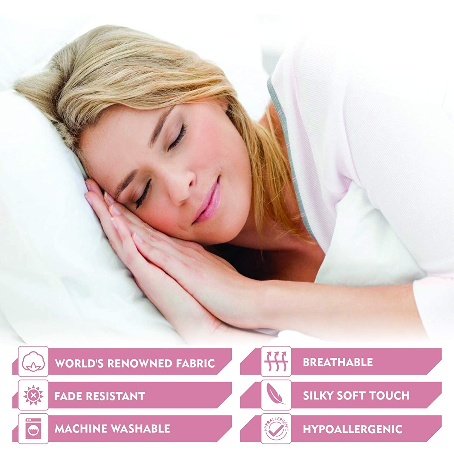King-White Bedding Homes LUXURIOUS BEDDING COLLECTION!Premium Quality GOTS Certified 2 Pc Pillowcases,800 TC Pillow cover set made of 100/% Organic,Eco-friendly and Natural Cotton