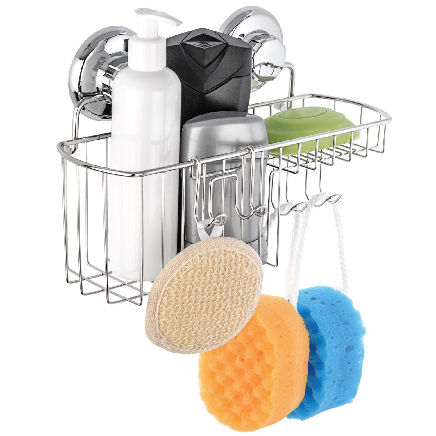 HASKO accessories Vacuum Suction Cup Shower Caddy | Shower Organizer for Shampoo with Hooks | Adhesive 3M Stick Discs | Holder for Bathroom Storage | 304 Polished Stainless Steel