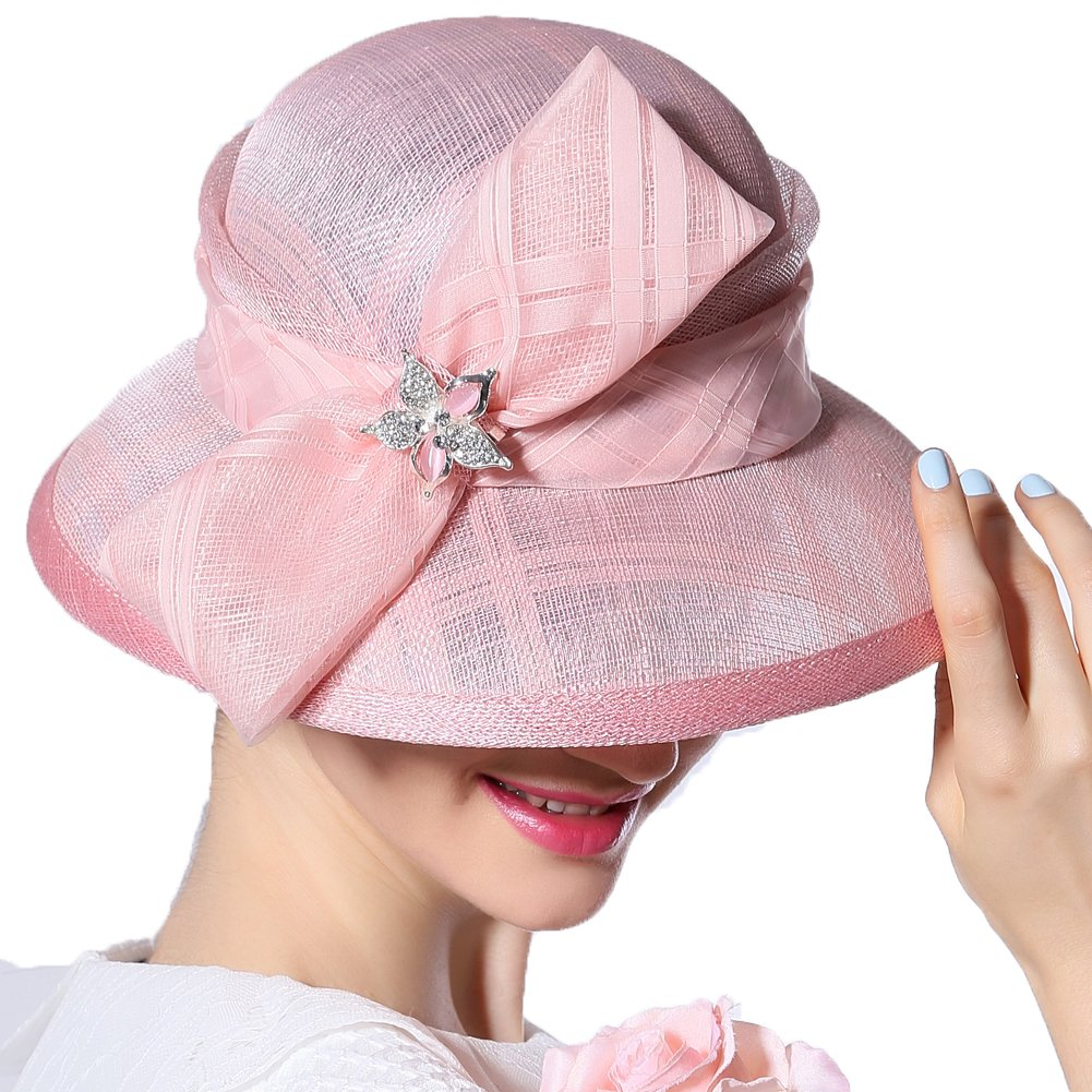 June's Young Women Hat Summer Hats Sinamay Bow (Pink)