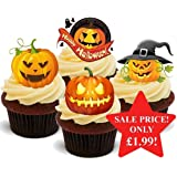 Halloween Scary Pumpkin Mix - Fun Novelty PREMIUM STAND UP Edible Wafer Paper Cake Toppers Decoration