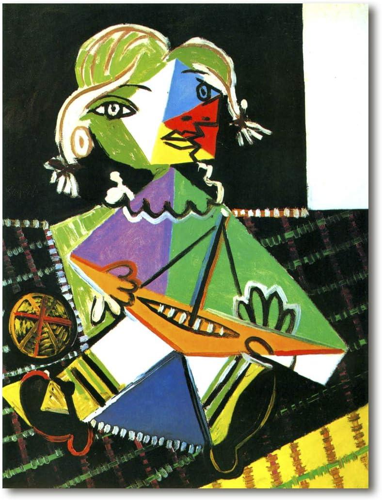 Cuadro Decoratt: Niña con barco (Maya Picasso) - Pablo Picasso 62x82cm. Cuadro de impresión directa.