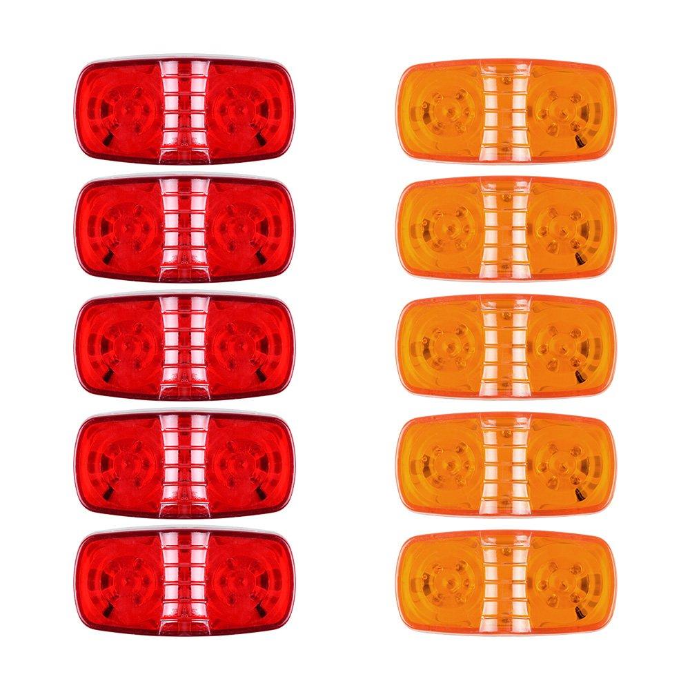 10pcs Red/Amber 12-LED Sealed Clearance Side Marker Lights For Trailer Truck Peterbilt Freightliner Kenworth