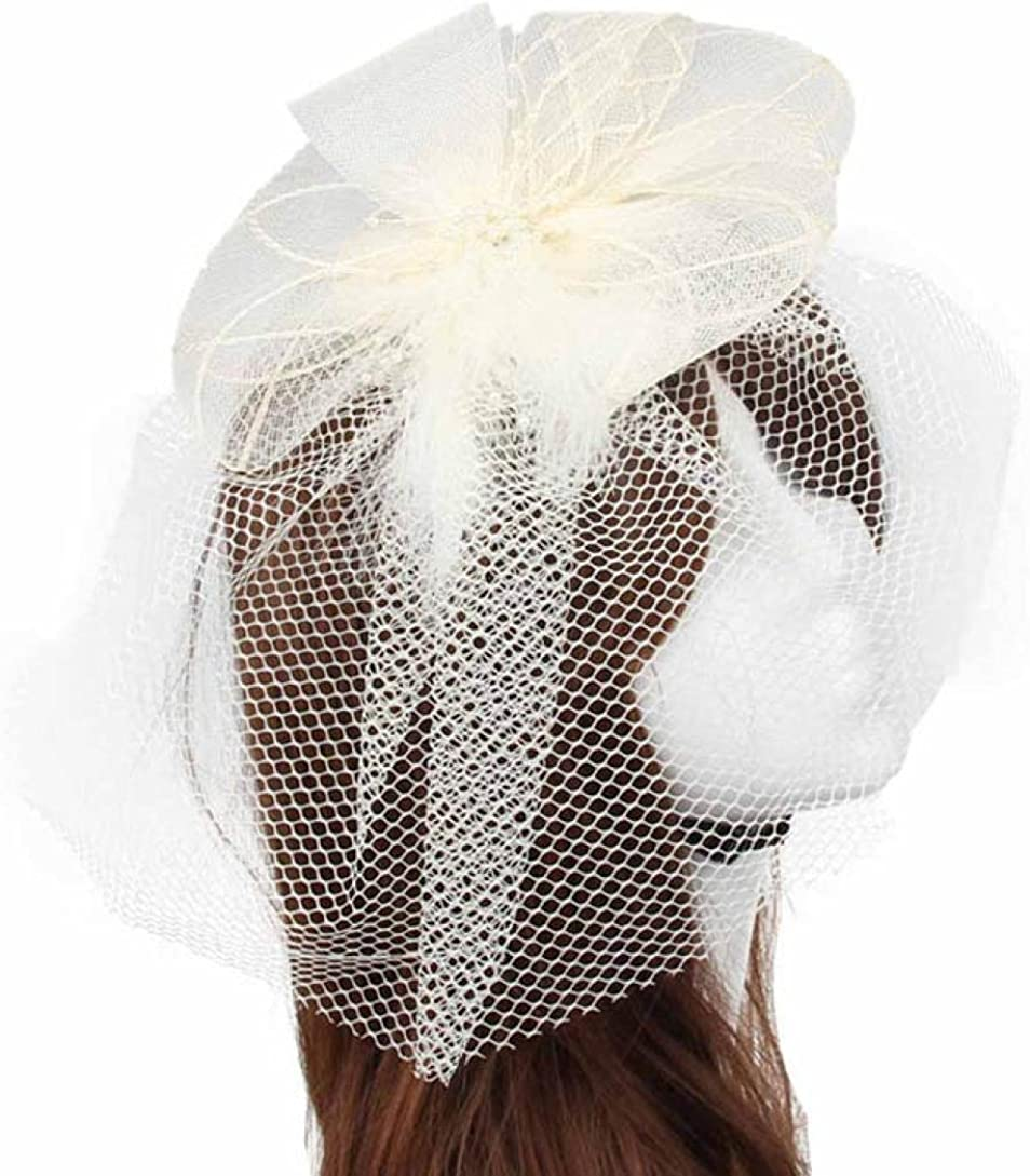BEAUTYVAN Wedding Fascinator Fashion Wedding Fascinator Veil Feather Hard Yarn Headband Women Brides Hair Hats