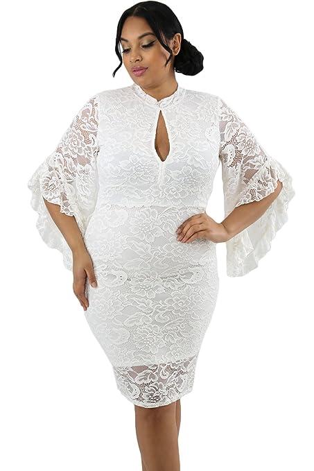 Vestido de encaje blanco con diseño de campanas de bodycon para fiestas, vestido de noche