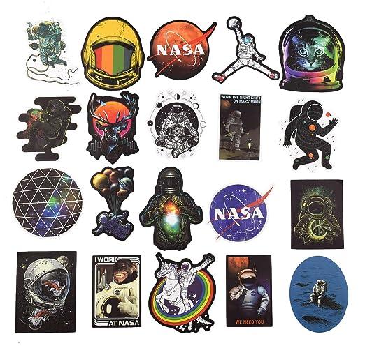 NASA Aufkleber für Laptop [100 STÜCKE], Platz Forscher Galaxis Vinyl Aufkleber für Wasserflasche MacBook Auto Fahrrad Stoßsta