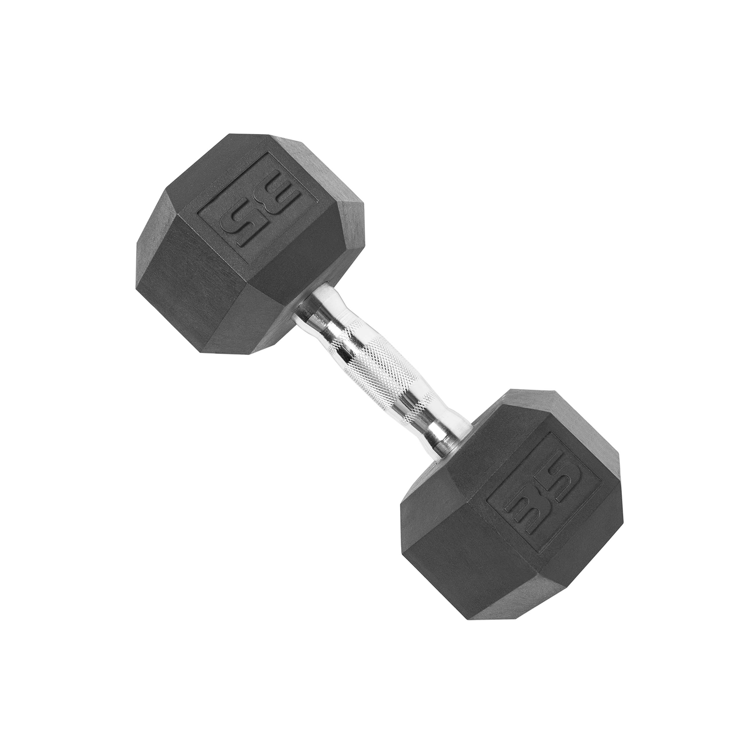 Cap Rubber Coated Hex Dumbbell Weights, Single