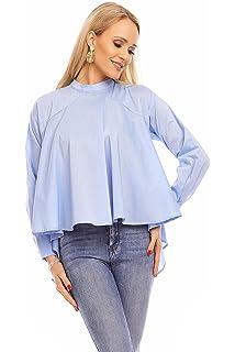 c30d2bddfb57fb Jayloucy Damen Bluse Hemd Top Oberteil Langarm Tunika Stehkragen Elegant Shirt  Sweatshirt JL160
